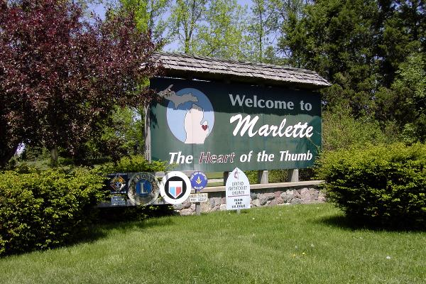 Welcome to Marlette Sign - The Heart of the Thumb