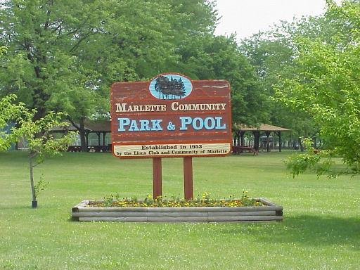 Marlette Community Park and Pool Sign